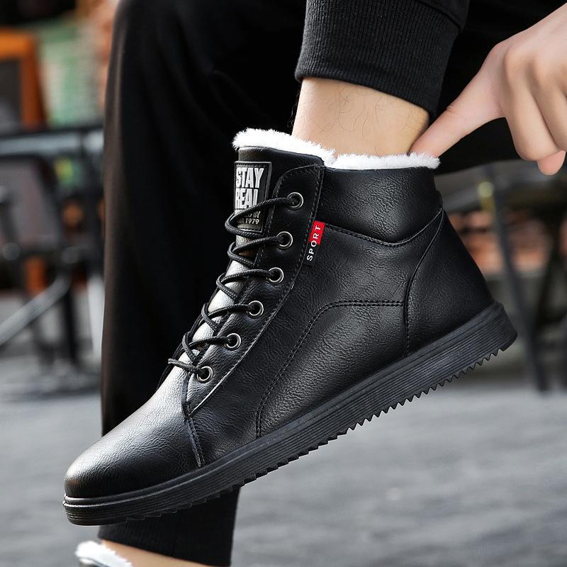 d36491f13 Compre GYKZ Botas De Invierno Para Hombre Botines De Cuero Zapatos  Calientes Hombres Tenis Zapatillas De Deporte Zapatos Masculinos Sólido  Lace Up Casual ...