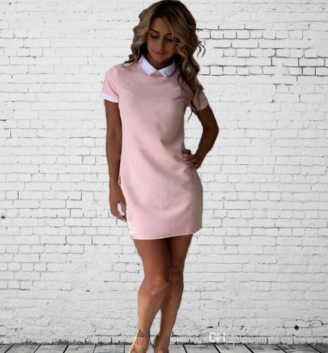 a292596ef80e1 Satın Al 2018 Yeni Kadın Ofis Işleri Beyaz Yaka OL Gömlek Elbise Yaz Kısa  Kollu Parti Lacivert Pembe Düz Elbise Mini Vestidos, $9.25 | DHgate.Com'da