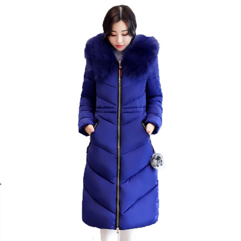Mais grosso Grande gola De Pele Plus Size Casaco De Inverno Para Baixo Jaqueta De Algodão Mulheres 2017 7XL Ucrânia Feminino Casacos Parka manteau femme hiver