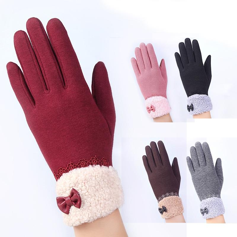 Elegant Women's Winter Warm Gloves Touchable Screen Sensor Fitness With  Lace Bowknot Mittens Female Thick Warm Gloves