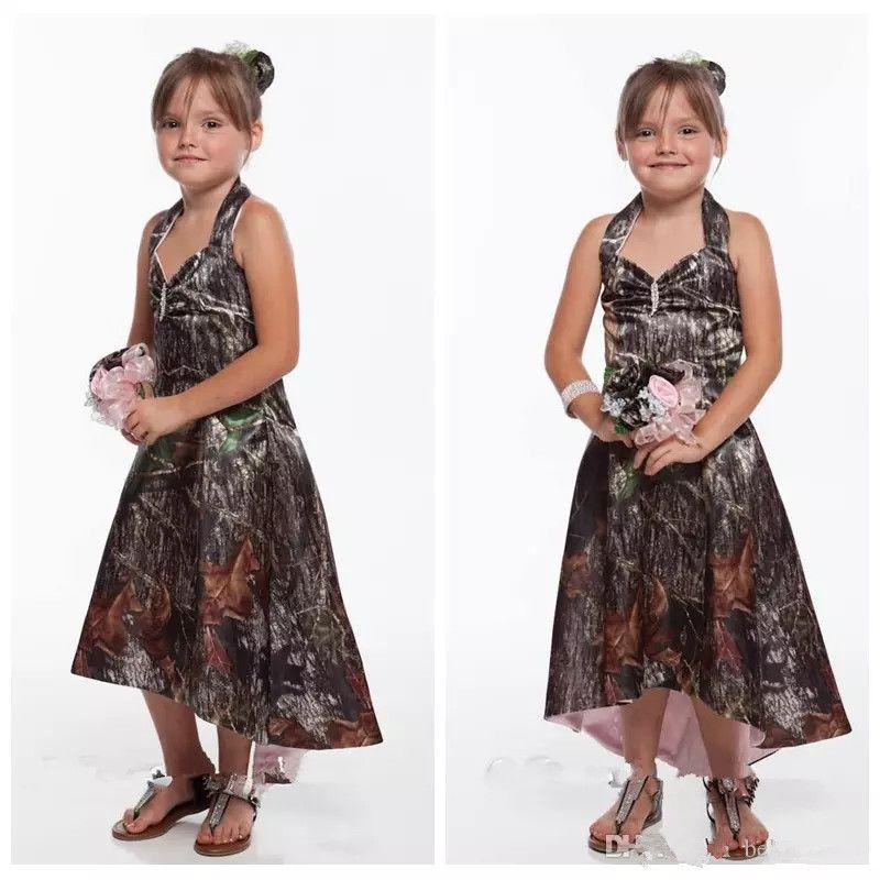 New Camo Junior Bridesmaid Dresses High Low Satin Outside Hi Lo ...