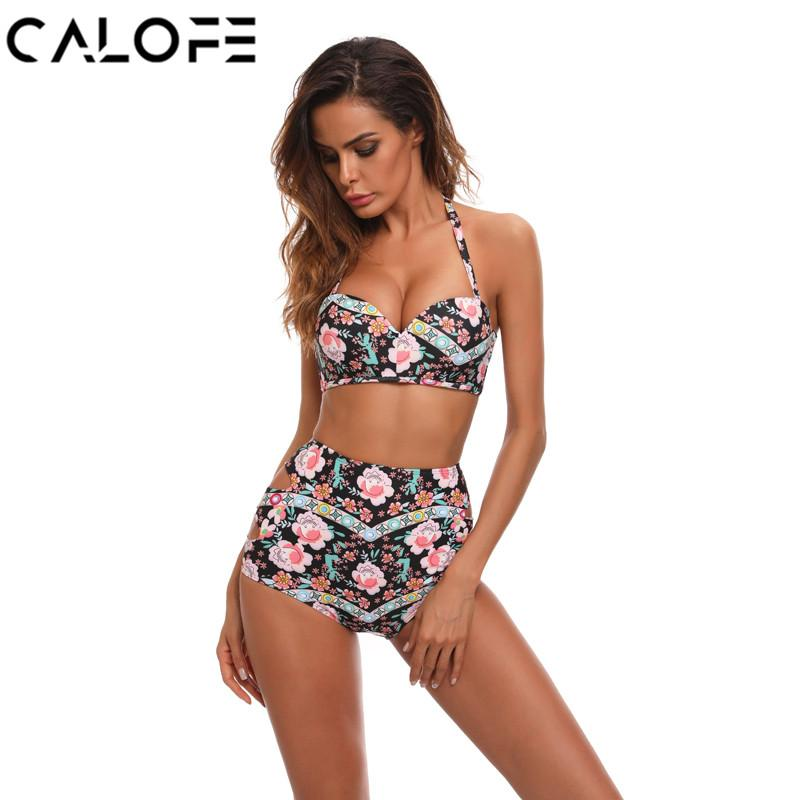 0d9a7d7039394 Women's Bikini Set 2018 Flower Printed Push Up Swimsuit High Waist ...