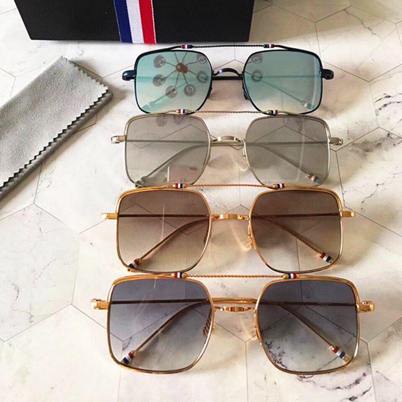 de738cfba4 Compre Moda Vintage Gafas De Sol Thom Browne TBX909 Mujer Hombre Marca  Diseño Suqare Caja Original Y Estuche Polarizado Lente De Calidad Superior  Envío ...