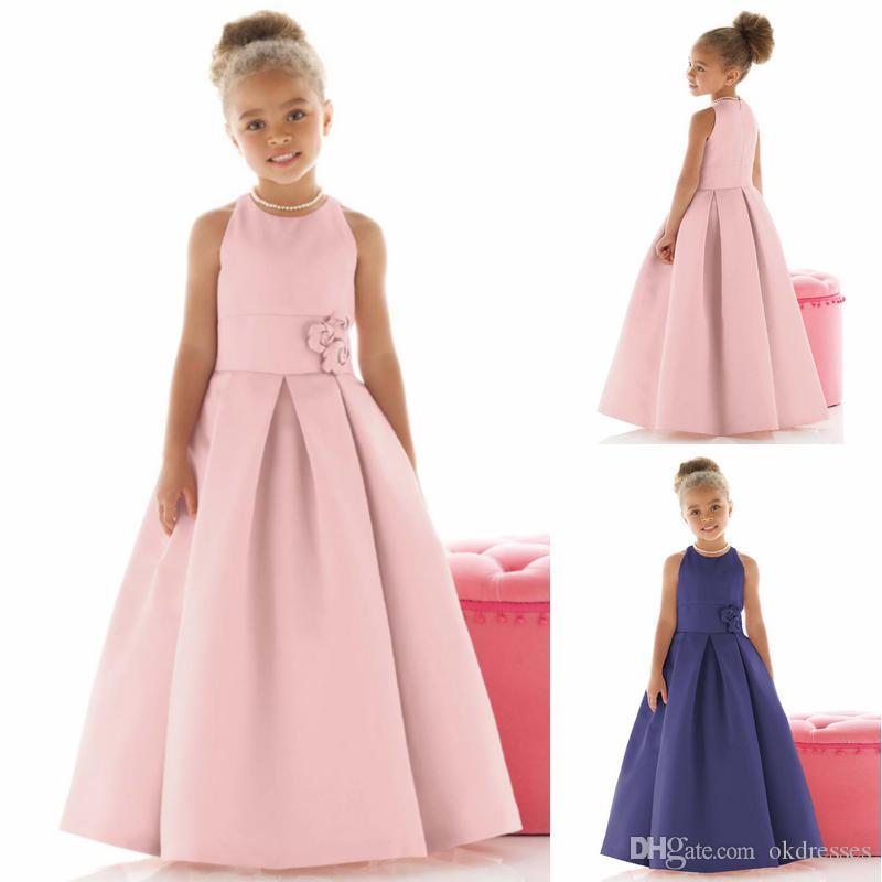 8ff2db35a3c9 Acquista 2019 Vestiti Ragazza Di Fiore Economici Royal Flower Girls Dresses  Toddler Bambini Flower Girl Dress Matrimoni Appliques Ragazze Pageant Prom  Gowns ...