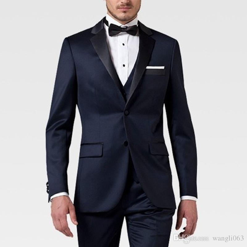 Navy Blue Business Party Men Suits for Groom Wear Three Piece Trim Fit Wedding Groomsmen Tuxedos Jacket Pants Vest
