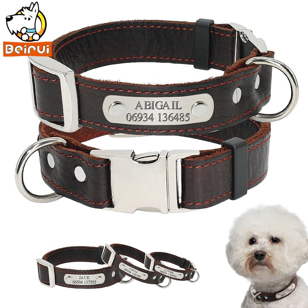 457029accb11 Personalized Dog Collar Genuine Leather Adjustable Engraved Id ...
