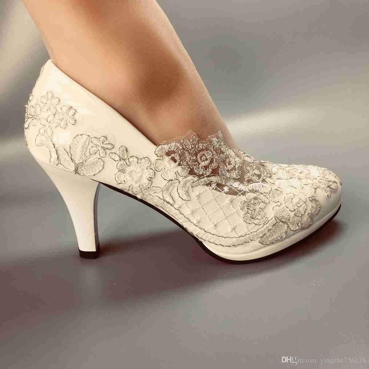 a9c7147b35a8 Women Wedding Shoes Waterproof White Lace Bride Wedding Dresses HEEL Diamond  Lace Manual Wedding BRIDAL HEEL Shoes SIZE EU 35 42 Wedding Shoes Purple ...