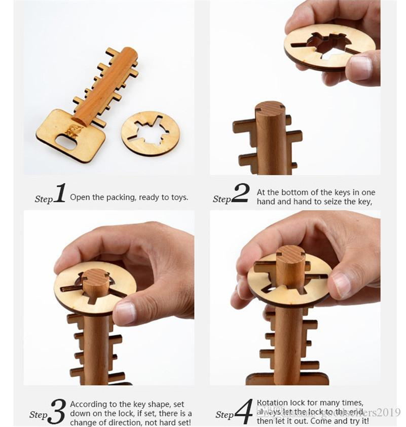 Wooden Toy Unlock Puzzle Key Classical Funny Kong Ming Lock Toys Intellectual Educational For Children Adult Intelligence toys