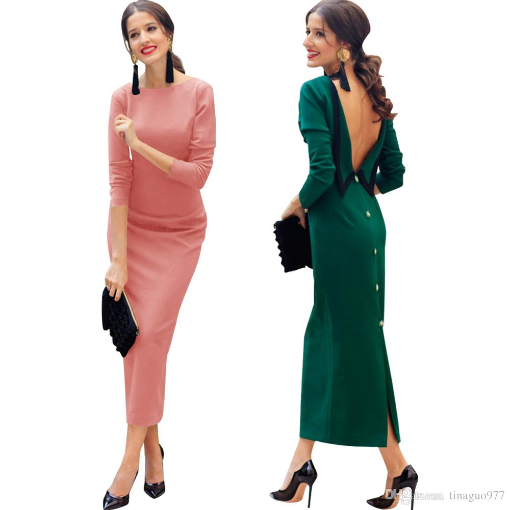 eeb63475301 2019 Vintage Special Occasion Dresses For Women Retro Backless Elegant  Bodycon Midi Dresses With Back Split In Autumn Spring From Tinaguo977