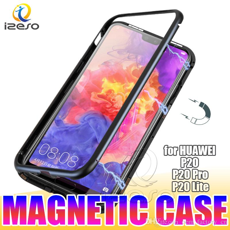 lower price with 6f452 08662 For Huawei P30 Pro Mate 20 Lite P20 Y9 2019 Magnetic Phone Case Elegant  Metal Bumper Clear Tempered Glass Back Magnet Cover izeso