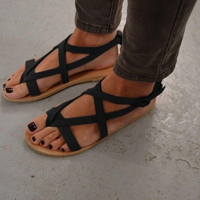 Femmes Sandales Plus La Taille 34-43 Chaussures D'été Des Appartements Décontractés Appartements Sandales Des Chaussures Pour Femme Européenne Rome Style Plage Chaussures Sandalias