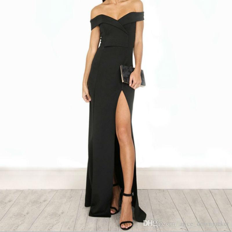 New Elegant Women Bodycon Bandage Dress Black Red Slash Neck Celebrity  Wedding Evening Party Dresses Autumn Maxi Dresses Vestido Autumn Dress  Vestido ... 7c1d0dc80bd0