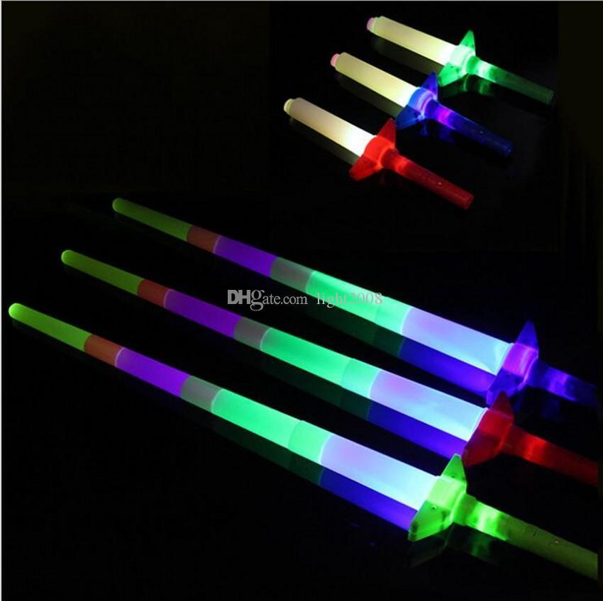 Telescópico LED Glow Stick Flash LED Light Stick Fluorescente Espada Luminous LED Alegría Props Festivales Navidad Carnaval Conciertos Juguetes