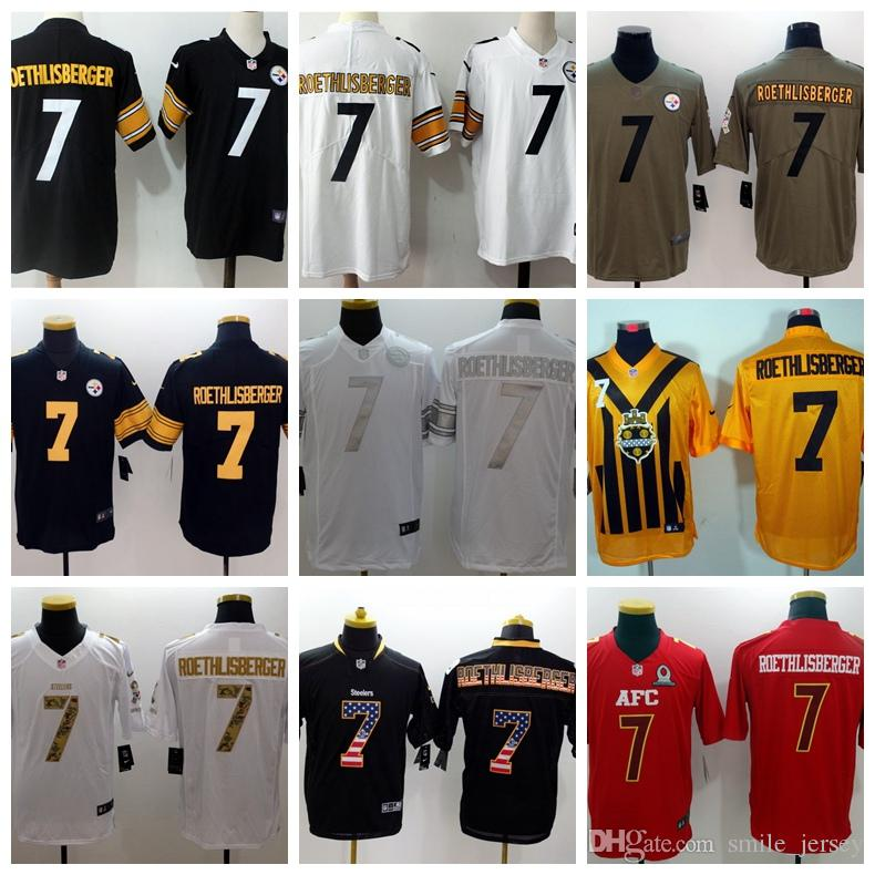 on sale 1d90d c3562 New Mens 7 Ben Roethlisberger Pittsburgh Jersey Steelers Football Jerseys  Stitched Embroidery Ben Roethlisberger Color Rush Football Shirts
