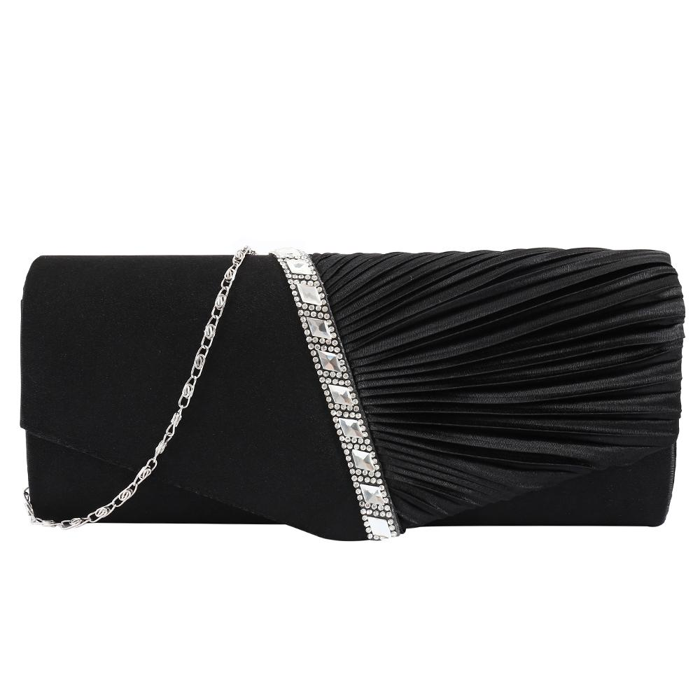 6839480ddfd8 Women S Pleated Rhinestone Studded Satin Handbag Evening Clutch Bags  Leather Purses Cheap Designer Handbags From Tasehook