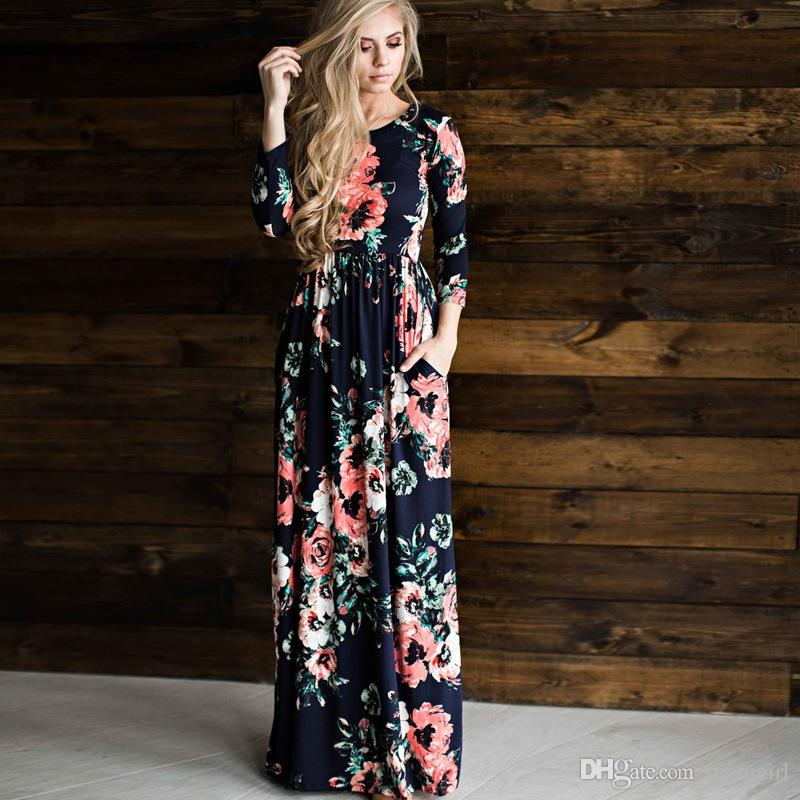 d8f958201d 2019 Women Maxi Floral Dress Spring Summer Long Sleeve Casual Dress Ladies  Elegant Vintage Party Dresses 6size From Momgirl, $15.18 | DHgate.Com