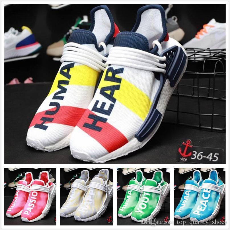 best sneakers efe90 72db3 2018 New Human Race mens shoes Pharrell Williams Heart black blue green and  red Womens Running shoes hu Peace Passion Happy Youth Sneakers