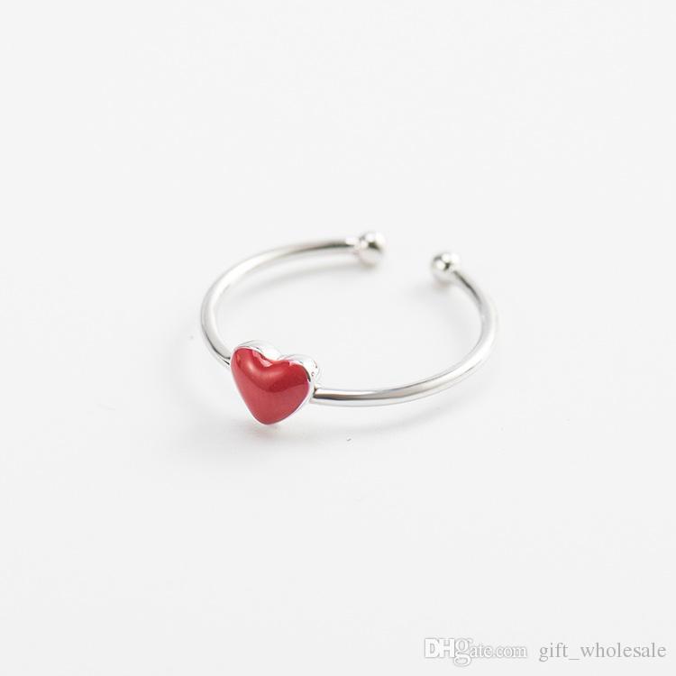 Moda 925 Sterling Silver Red Heart Necklace mujeres Diapositivas Heart Bead colgante collares diseñador amor collar