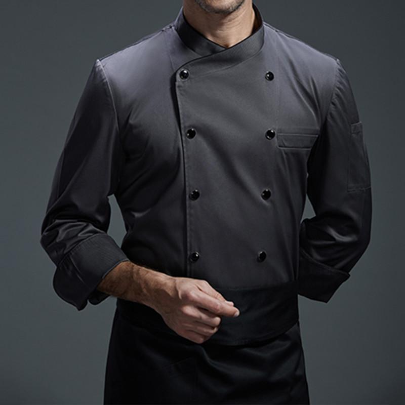 Acquista Camicia A Maniche Lunghe Nera Grigia Bianca Barista Hotel  Restaurant Cucina Chef Uniforme Bistro Baker Bar Catering Abbigliamento Da  Lavoro B94 A ... 9a007e196952
