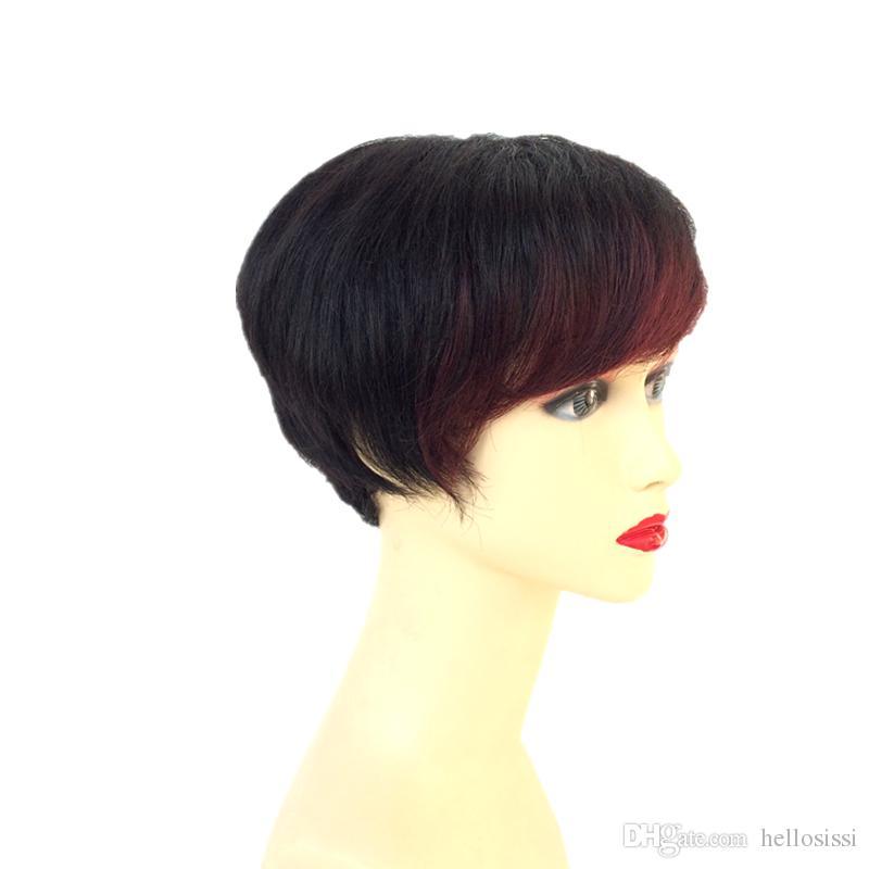 Vinho tinto Escuro Borgonha perucas de Cabelo humano Side Bang Peruca Humana Curta Hiar peruca Brasileira curta pixie perucas de Cabelo humano natural preto perucas