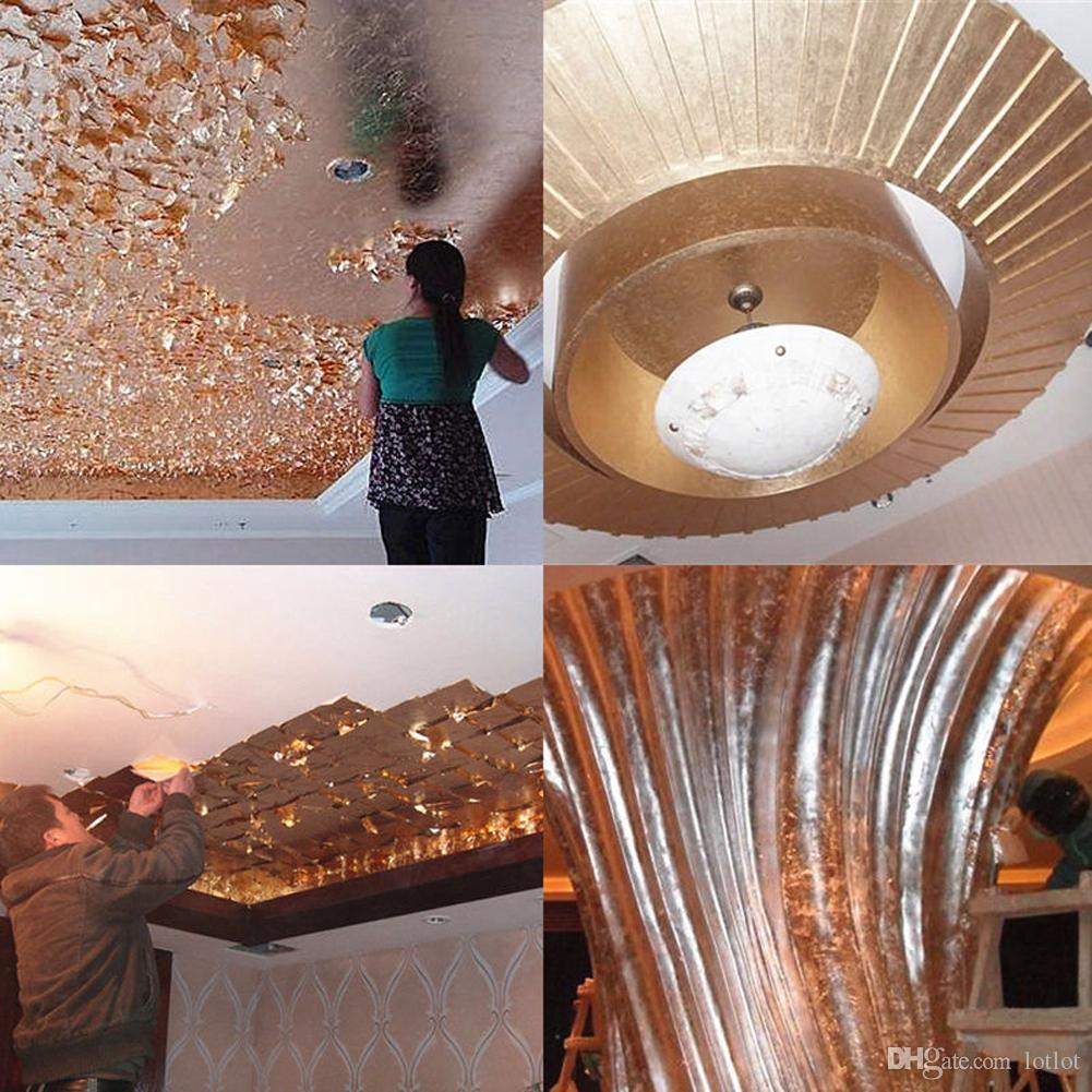 craft paper Imitation Gold Sliver Copper Leaf Leaves Sheets Foil Paper Art Crafts for Gilding Craft Decoration 14x14cm