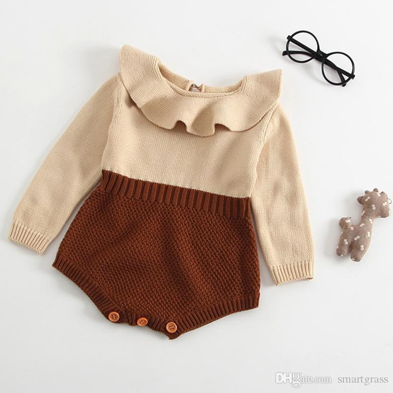 9861e10c26f 2019 Fashion Baby Girl Rompers Ruffled Collar Boutique Knit Sweater Cotton Long  Sleeve Autumn Spring Baby Rompers 17092001 From Smartgrass