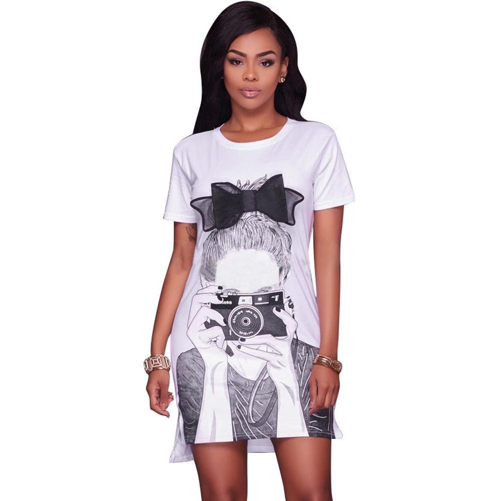 4a27e111d887 2019 2018 Fashion Character Print T Shirt Dress O Neck Short Sleeve  Asymmetric Hem Summer Cute Cartoon Dress Black White Mini From Blueberry07