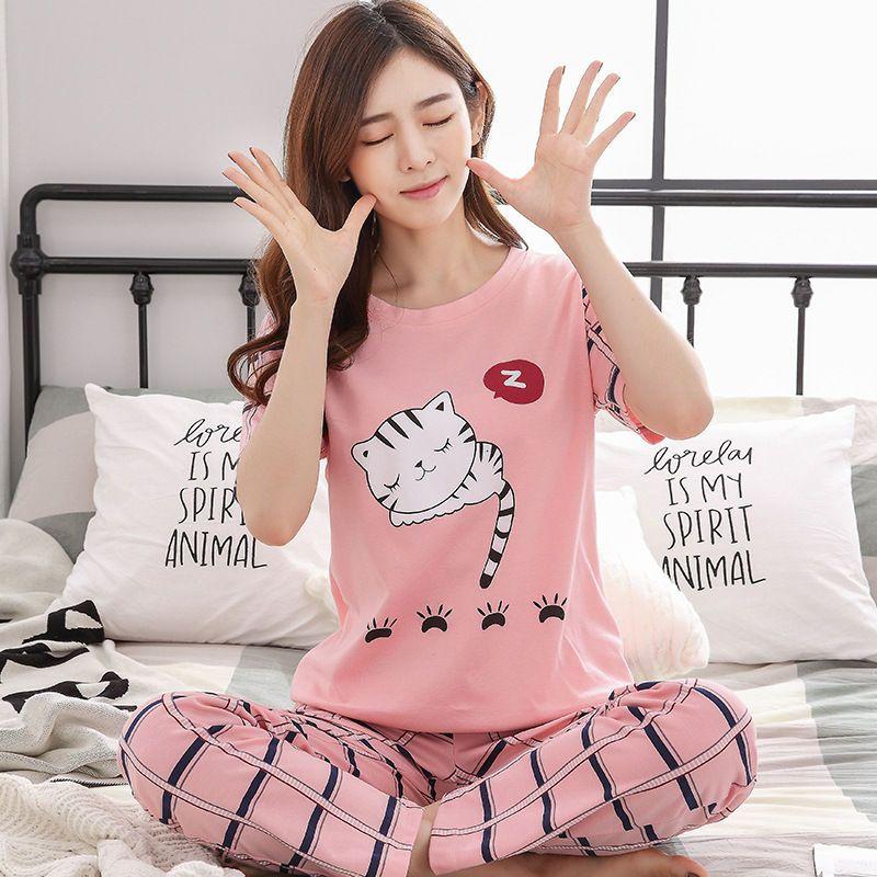 9f3ca9d7cf 2019 Womens Pajamas Sets 100% Cotton Short Sleeve Shirts And Pants All  Above Cartoon Print Pajama Set Sleepwear Women Summer Homewear From  Berniee
