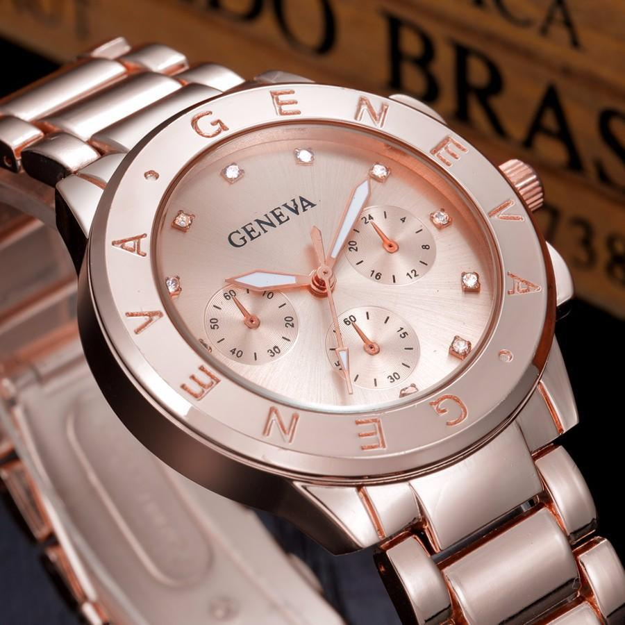 b627cf8af80 Relogio Feminino GENEVA Watch Women Luxury Brand Quartz Watch Women Gold  Stainless Steel Dress Watch Fashion Casual Hours Female Fine Watches Latest  Watches ...