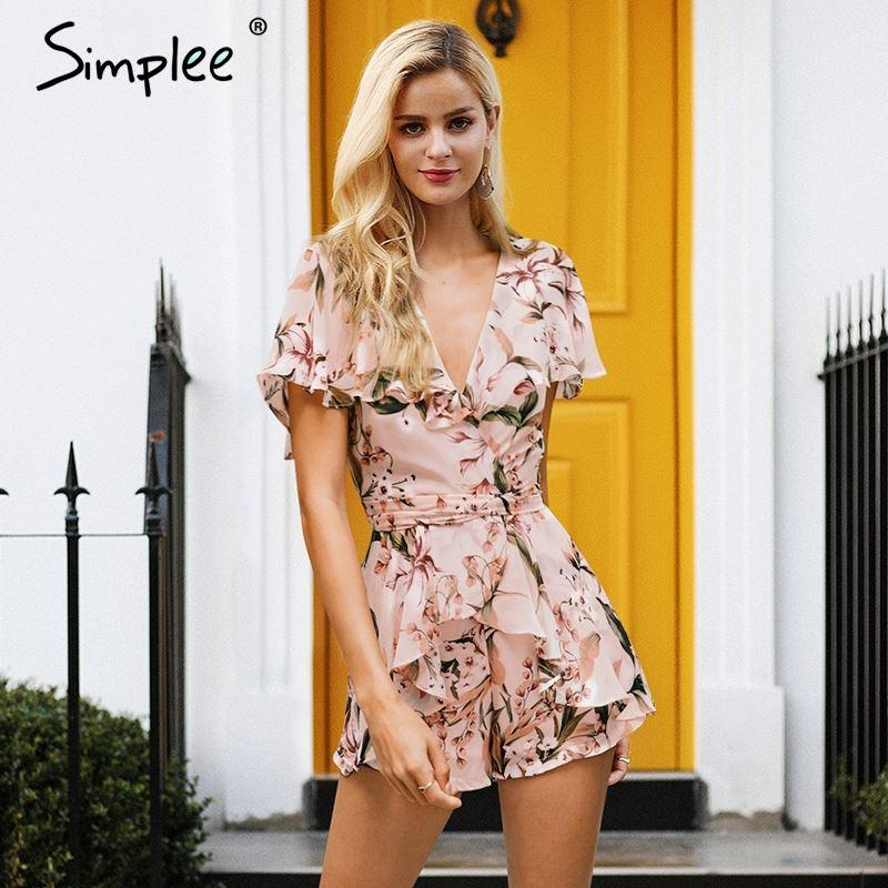 9a96558e4a8 Simplee Boho Floral Print Summer Romper Women V Neck Backless Sexy Short  Jumpsuit Sash Casual Playsuit Ruffle Chiffon Overalls UK 2019 From  Simplee dhgate