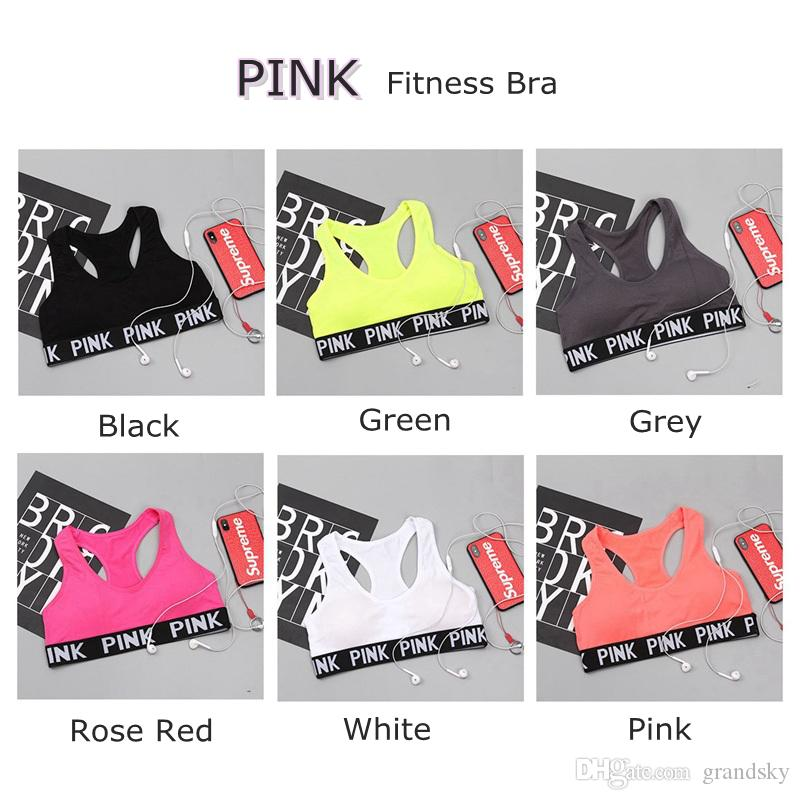 Amor Pink Letter Sexy Women Sports sujetador Running Yoga Chaleco Camisas Shakeproof Gym Fitness sujetador Push Up Tops elásticos de la ropa interior LK01