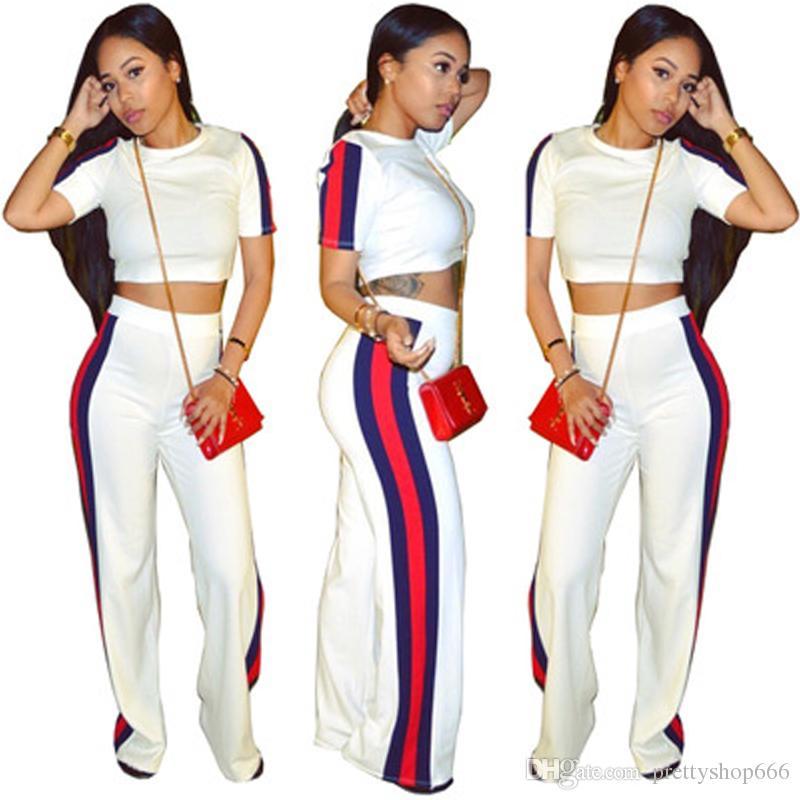 122b14a07b4e3 Compre 2018 Nueva Moda 2 Piezas Conjunto De Ropa De Mujer Blanco Y Negro  Crop Top Y Pantalones Traje Damas Sexy De Dos Piezas Chándal A  21.11 Del  ...