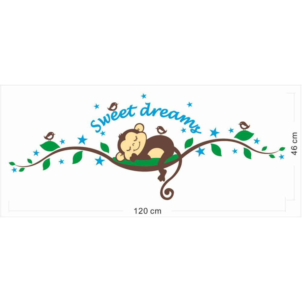 DIY Sweet Dream Kawaii Carton Monkey Tree Wall Stickers Children Mural Art Home Decals Decoration Baby Kids Nursery Room Bedroom