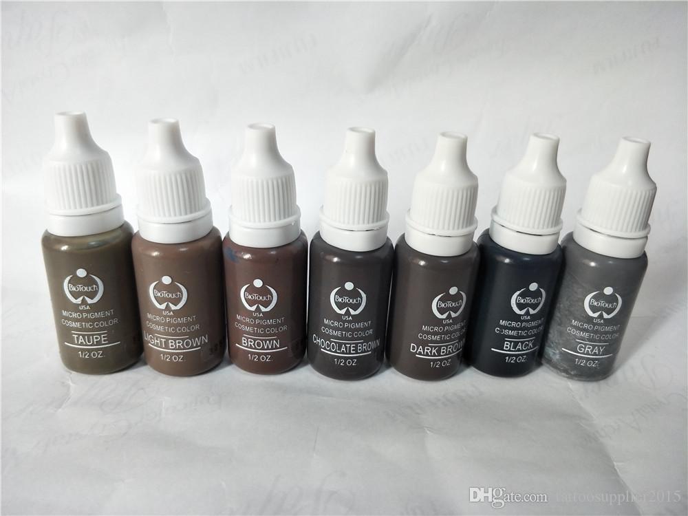7 stücke biotouch tattoo tinte Permanent make-up micro pigment KIT 15 ml für 3d augenbraue eyeliner schwarz hellbraun mischfarben