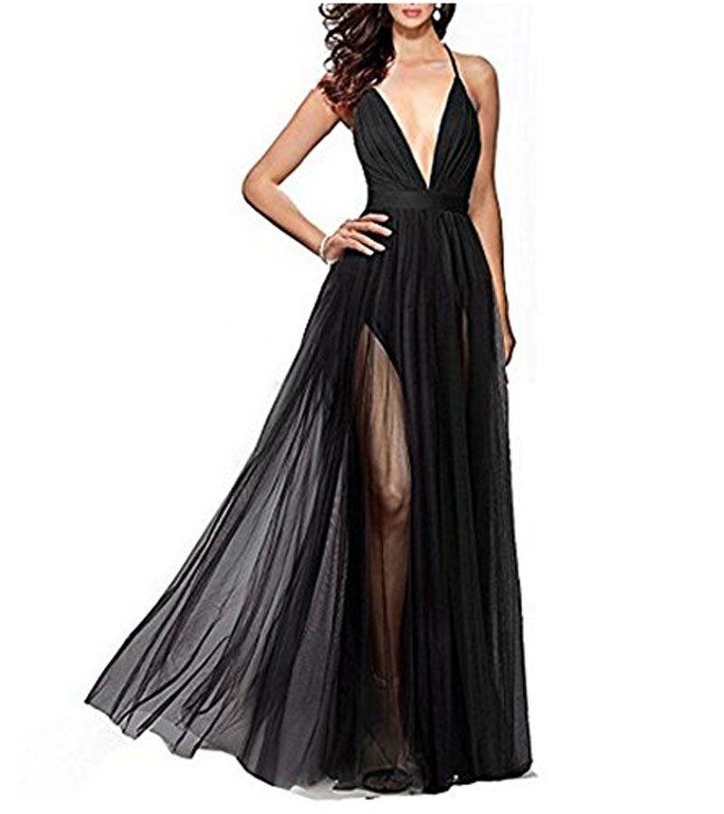 Son tasarım Custom made kadın Seksi V Yaka Tül Balo Abiye Yan Bölünmüş Özel Durum Elbise Backless Elbiseler