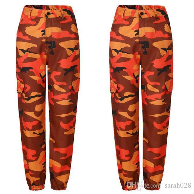 Mode européenne Femmes Militaire Camo Cargo Pantalon Hip Hop Danse Camouflage Pantalon Femme Jean Pantalon Pantalon Mujer