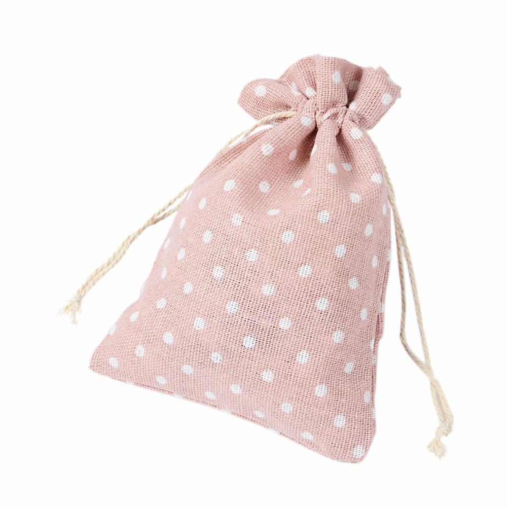 Pink Dot Cotton Linen Gift Bag 9x12cm 10x15cm 13x17cm pack of 50 Makeup Jewelry Packaging Pouch