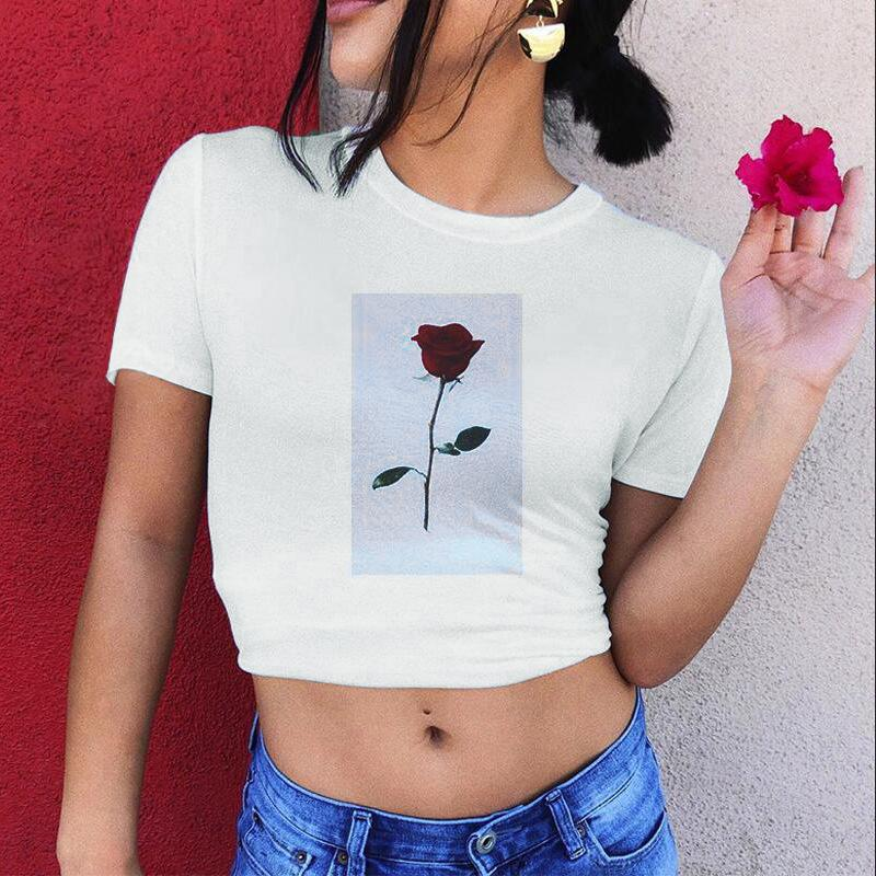 8e42ab71e7f51d Short Rose Print Round Neck Tshirt Cotton White Vogue Graphic Crop Top  Funny T Shirt Women Outfit Tops Novelty Tee Shirts Awesome Shirt Designs  From ...