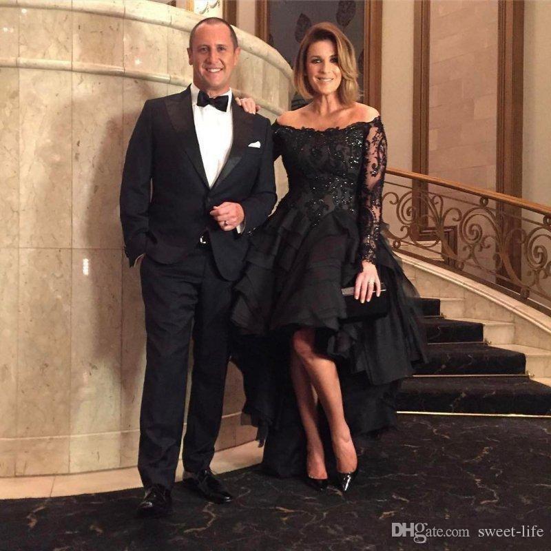 2019 Élégant À Manches Longues Noir Mère De La Mariée Robes De L'épaule Salut-Lo Tulle Robe D'invité De Mariage Plus La Taille Robe De Fête Formelle