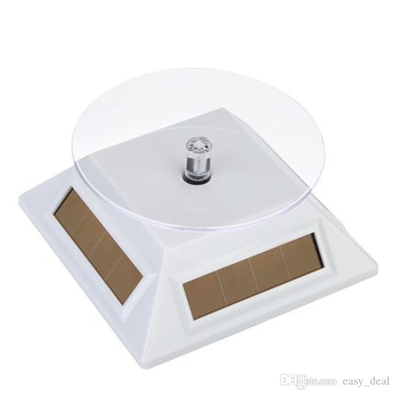 Solar 360 degree Turntable Rotating Jewelry Display Plate Stand Lighting Power showcase watch displaying Tray Holder LZ1516