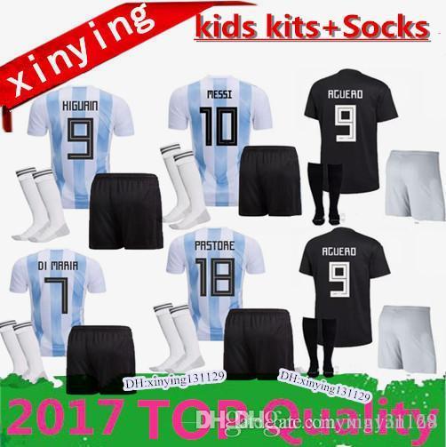 414c00f5a 2018 Argentina Kids Kit World Cup Soccer Jersey 18 19 MESSI Home DI MARIA  AGUERO HIGUAIN ICBADI DYBALA MARADONA Child Sets Football Shirts UK 2019  From ...