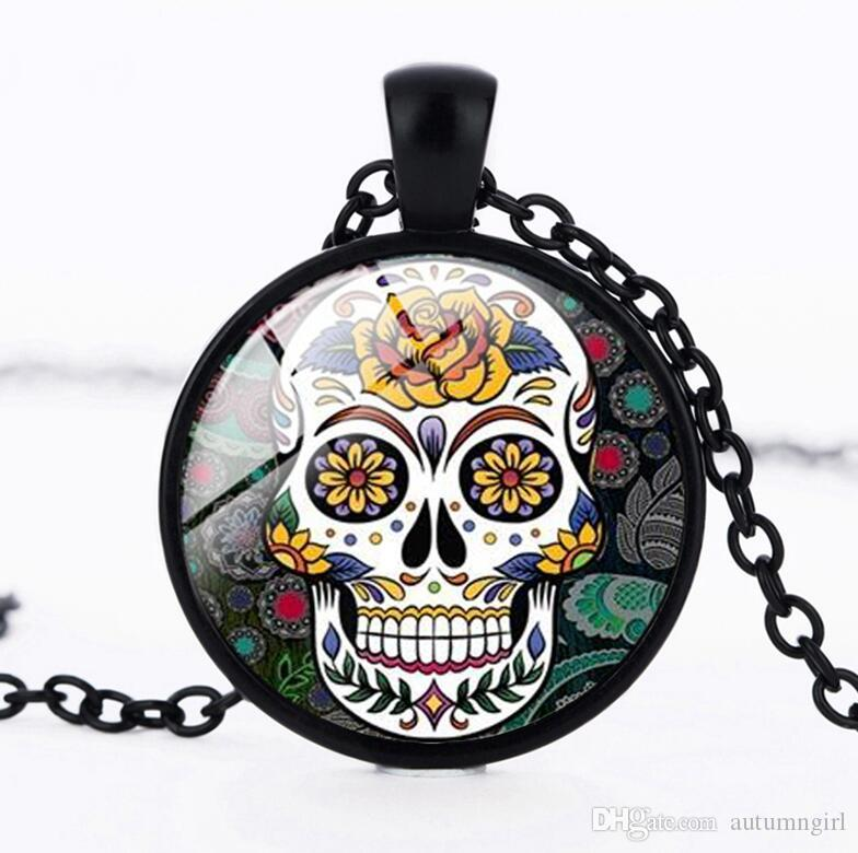 531254d3f Wholesale Mexican Sugar Skull Pendant Day Of The Dead Necklace Antique  Bronze Silver Chain Sugar Skull Glass Jewelry Necklace Classic Number  Pendant ...