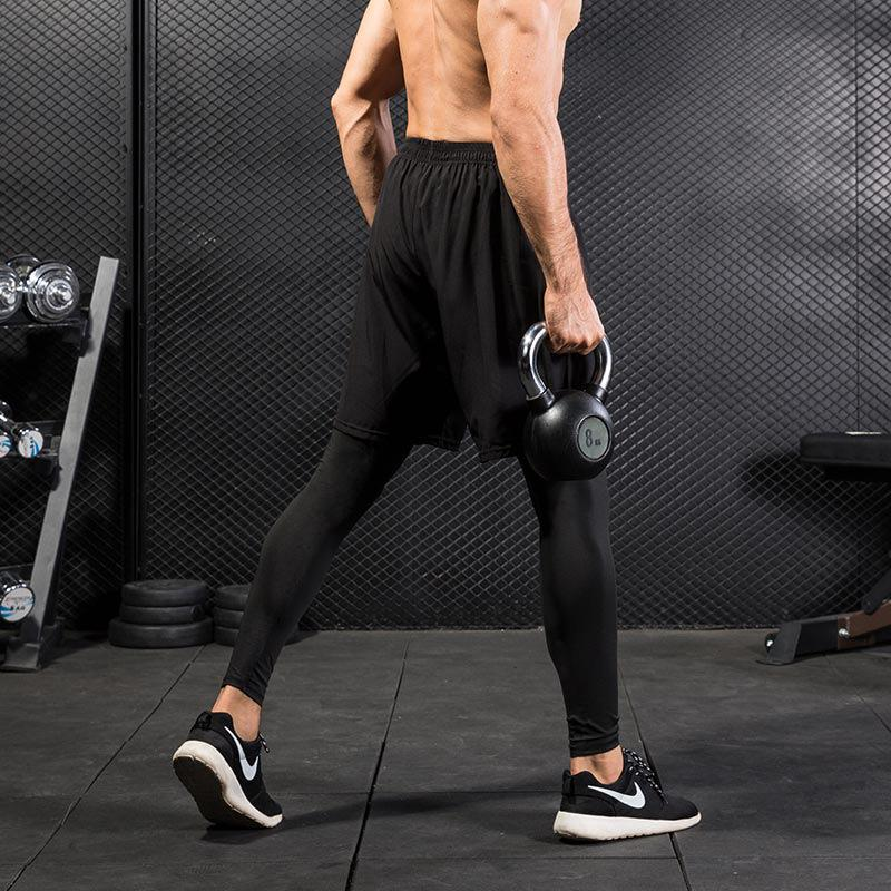 2018 yeni erkek tayt iki parça spor spor koşu eğitim rahat elastik spor spor tayt çabuk kuruyan pantolon