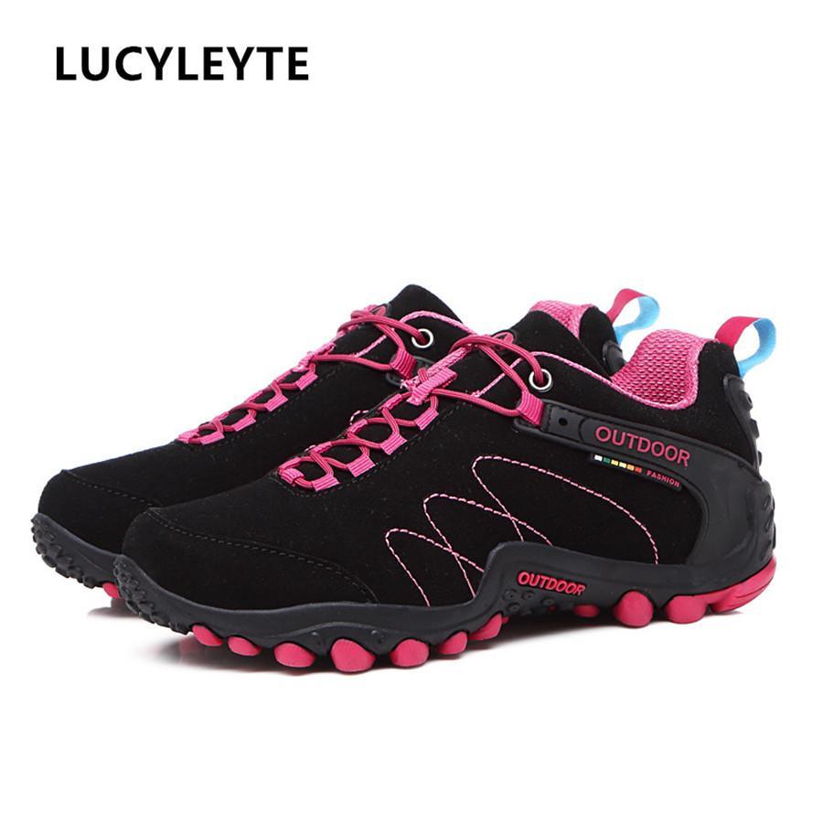 19fe7d7838 Compre Mulheres Caminhadas Sapatos Homem Escalada De Montanha À Prova D 'Água  Sapatos De Trekking Sapatilha Ao Ar Livre Profissional Respirável Para O ...