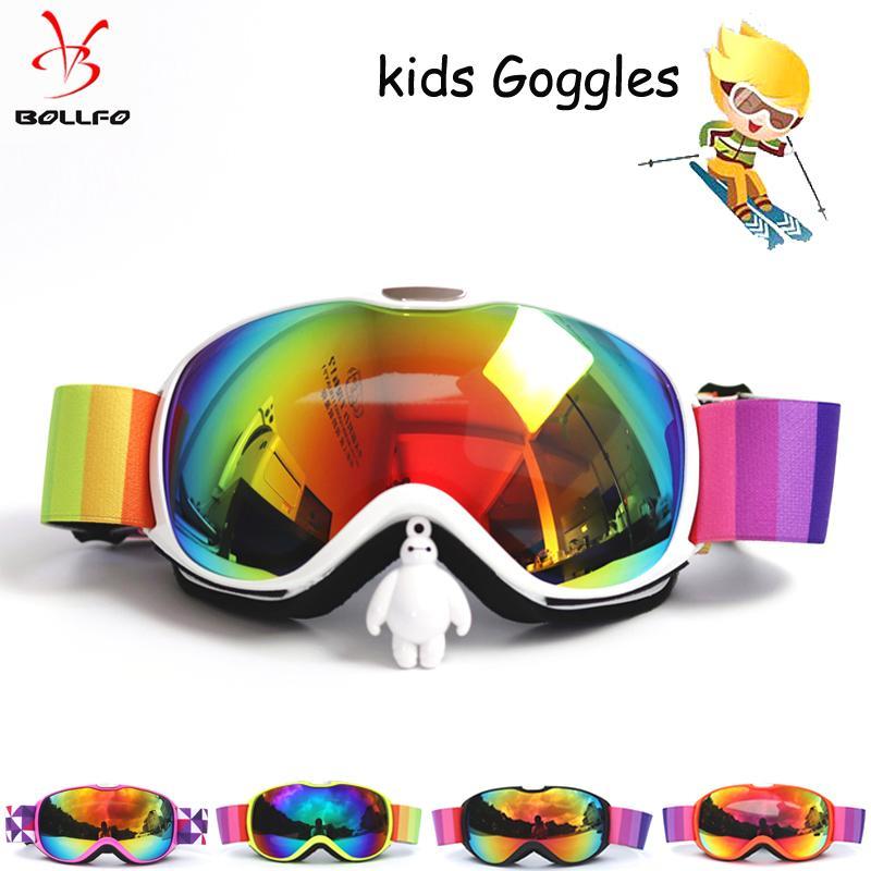 Compre BOLLFO Crianças Óculos De Esqui Tamanho Pequeno Para Crianças UV400  Anti Fog Máscara Óculos De Esqui Lente Esférica Meninas Meninos Óculos De  ... 0906cc3238