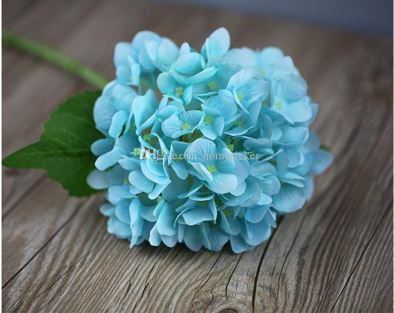 56cm Artificial Hydrangea Flower Head Fake Silk Single Real Touch Hydrangeas for Wedding Centerpieces Home Party Decorative Flowers