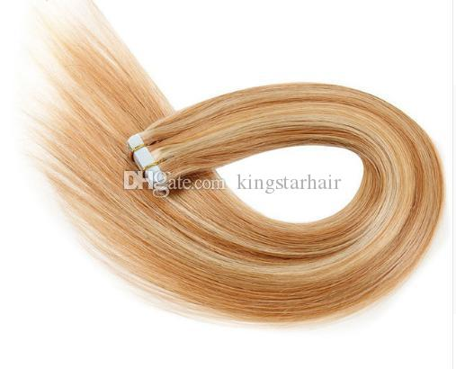 King star hairTape en extensiones de cabello humano máquina Remy recto en adhesivo Invisible PU Weft Platinum Blonde Color # 613 40g / Set