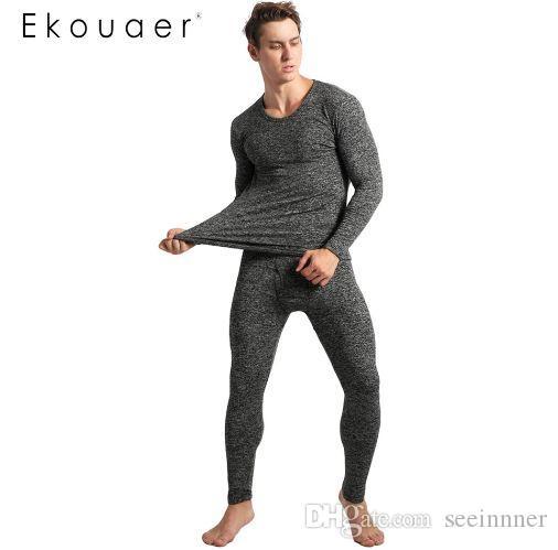 8abdd7a80d Ekouaer Winter Pyjamas Mens Long Sleeve Solid Slim Sleepwear O-Neck ...