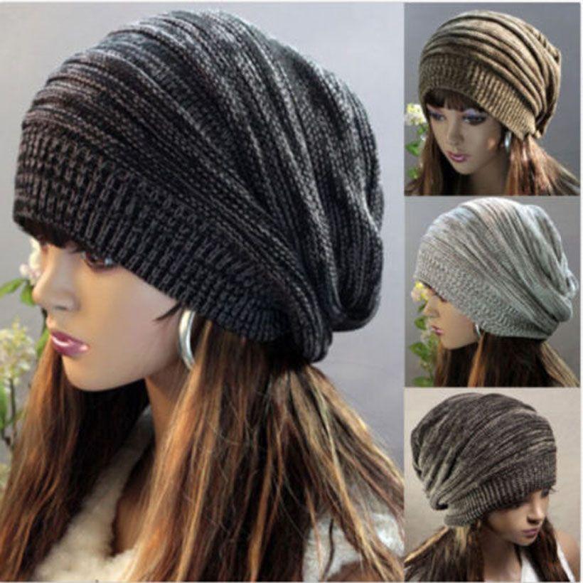 37959402363 2019 Women Beanie Slouch Skullcap Hippie Cap Men Striped Knited Wool Ski Unisex  Hat Hair Accessories From Xuelianguo