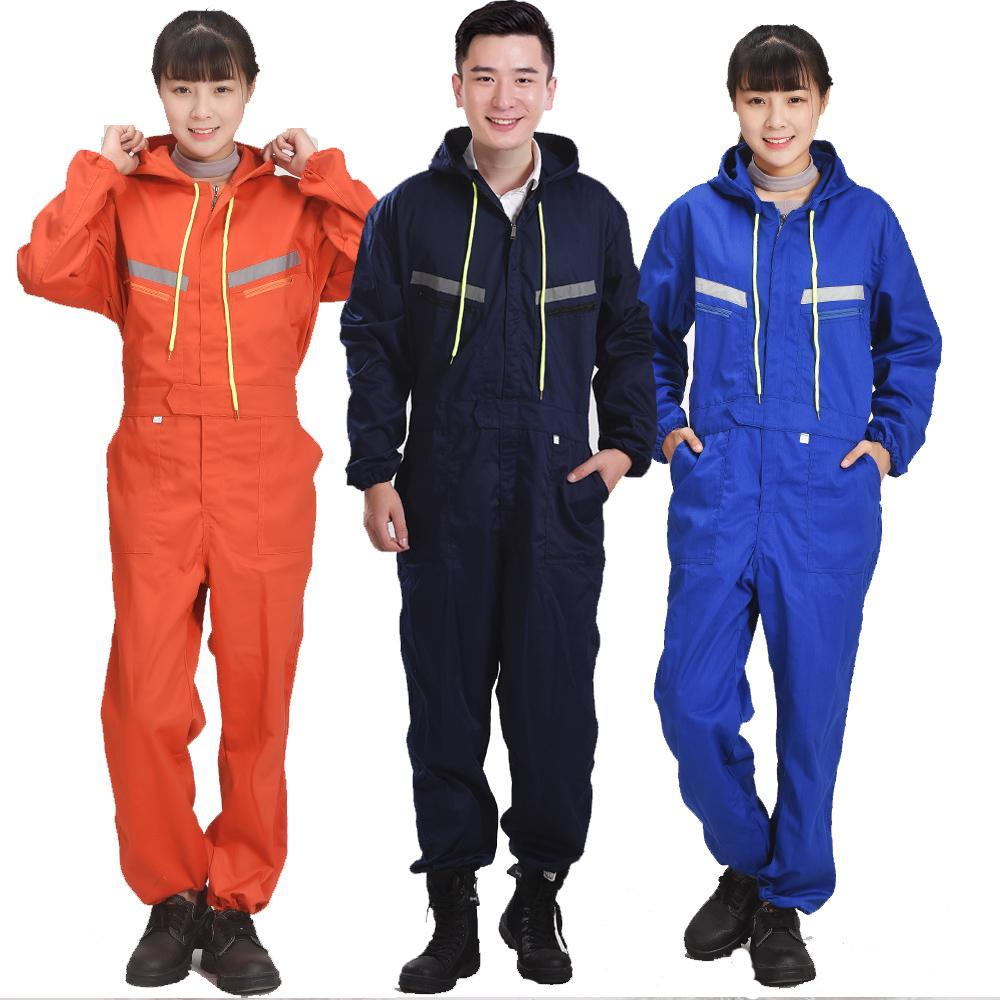 Plus size Male Reflective strip jumpsuit Men Work Wear hooded uniforms  Fashion Labor protection Tooling Coveralls 60901